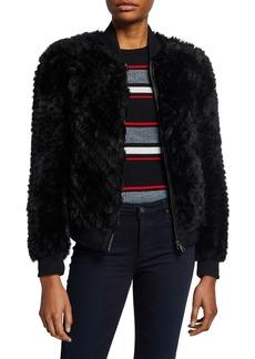 Neiman Marcus Faux Fur Baseball Jacket