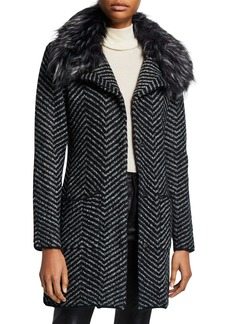 Neiman Marcus Faux Fur Collar Chevron Cardigan