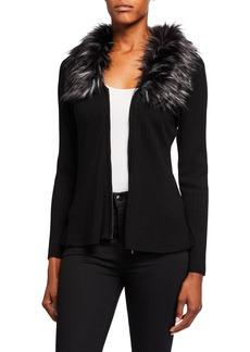 Neiman Marcus Faux-Fur-Collar Wool-Blend Cardigan