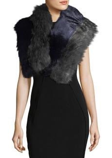Neiman Marcus Faux-Fur Colorblock Quadrant Stole