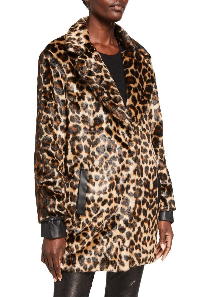 Neiman Marcus Faux-Fur Leopard Faux-Leather Trim Coat