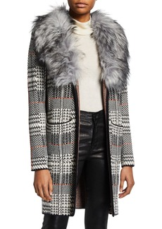Neiman Marcus Faux Fur Plaid Cardigan