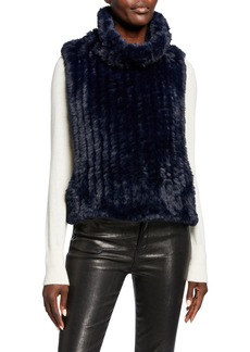 Neiman Marcus Faux-Fur Sleeveless Pullover