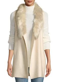 Neiman Marcus Faux-Fur Trim Knit Vest