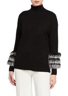 Neiman Marcus Faux-Fur-Trim Mock-Neck Sweater