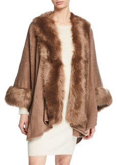 Neiman Marcus Faux-Fur Trimmed Knit Cape