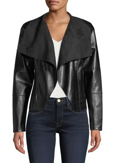 Neiman Marcus Faux-Leather Open Front Jacket