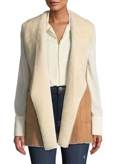 Neiman Marcus Faux-Shearling Draped Vest