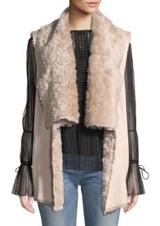 Neiman Marcus Faux-Shearling Open Front Vest