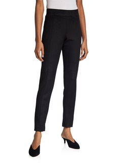 Neiman Marcus Faux Suede Knit Pull-On Pants