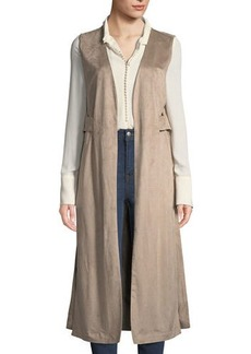Neiman Marcus Faux-Suede Open-Side Duster Vest
