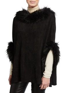 Neiman Marcus Faux-Suede Poncho w/ Faux Fur Trim