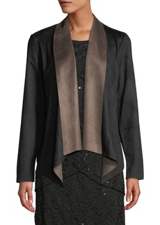 Neiman Marcus Faux-Suede Shawl-Front Jacket