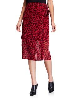 Neiman Marcus Faux Wrap Printed Skirt