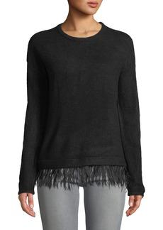 Neiman Marcus Feather-Trim Pullover Sweater