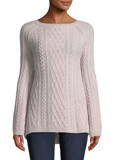 Neiman Marcus Featherweight Cable-Knit Cashmere Pullover Sweater