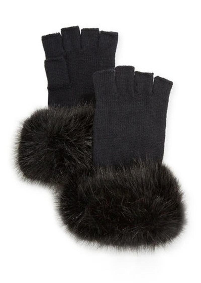 Neiman Marcus Fingerless Faux Fur Gloves