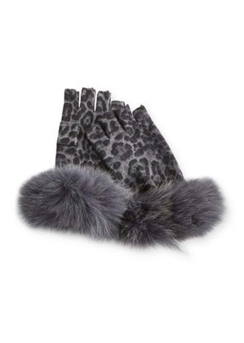 Neiman Marcus Fingerless Leopard-Print Cashmere Gloves w/ Fur Cuff