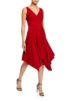 Neiman Marcus Fit-&-Flare Handkerchief Dress