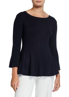 Neiman Marcus Fit-and-Flare Zip-Back Ribbed Sweater