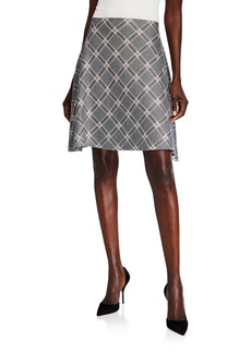 Neiman Marcus Plaid Flare Skirt