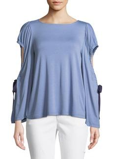 Neiman Marcus Flare-Sleeve Cutout Top