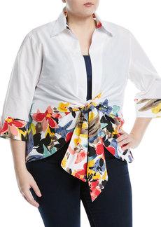 Neiman Marcus Floral-Border Tie-Front Blouse