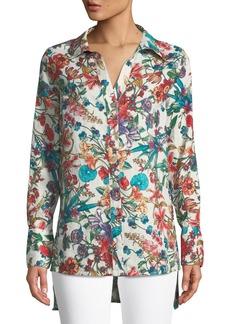 Neiman Marcus Floral Button-Front Linen Tunic