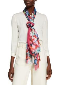 Neiman Marcus Floral Cashmere/Silk Scarf