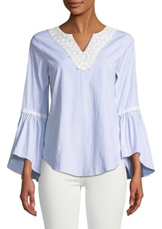 Neiman Marcus Floral Crocheted Bell-Sleeve Blouse