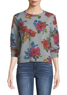 Neiman Marcus Floral Cropped Sweatshirt