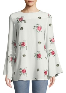 Neiman Marcus Floral-Embroidered Bell-Sleeve Blouse