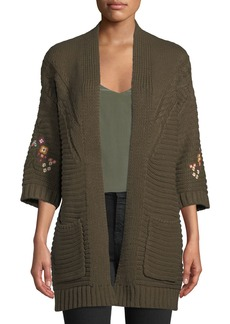 Neiman Marcus Floral-Embroidered Chunky Cardigan