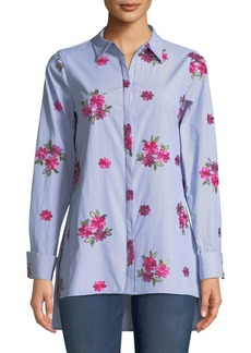 Neiman Marcus Floral-Embroidered High-Low Button Front Tunic