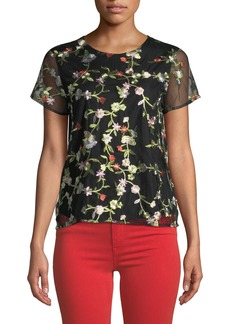 Neiman Marcus Floral-Embroidered Mesh Tee