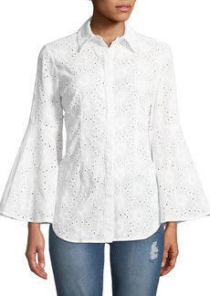Neiman Marcus Floral-Eyelet Bell-Sleeve Button-Front Blouse