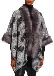 Neiman Marcus Floral Poncho w/ Faux Fur Trim
