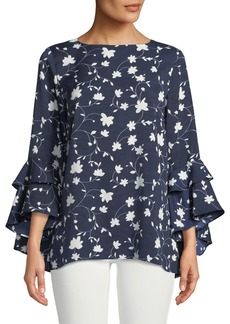 Neiman Marcus Floral-Print Cascading Ruffle-Sleeve Blouse