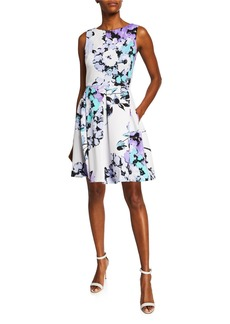 Neiman Marcus Floral-Print Fit-and-Flare Dress
