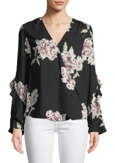 Neiman Marcus Floral-Print Ruffled Wrap Top