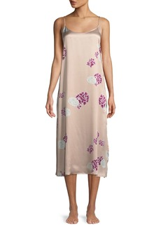 Neiman Marcus Floral-Print Silk Nightgown