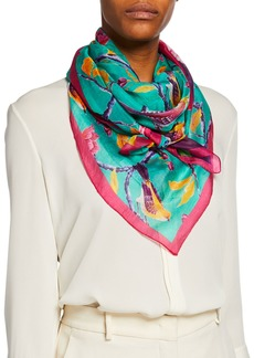 Neiman Marcus Floral Silk Scarf