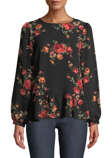 Neiman Marcus Floral Stretch-Crepe Peplum Blouse