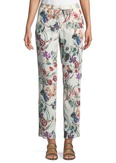 Floral Tie-Front Straight-Leg Ankle Pants