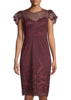 Neiman Marcus Flutter-Sleeve Embroidered Mesh Cocktail Dress