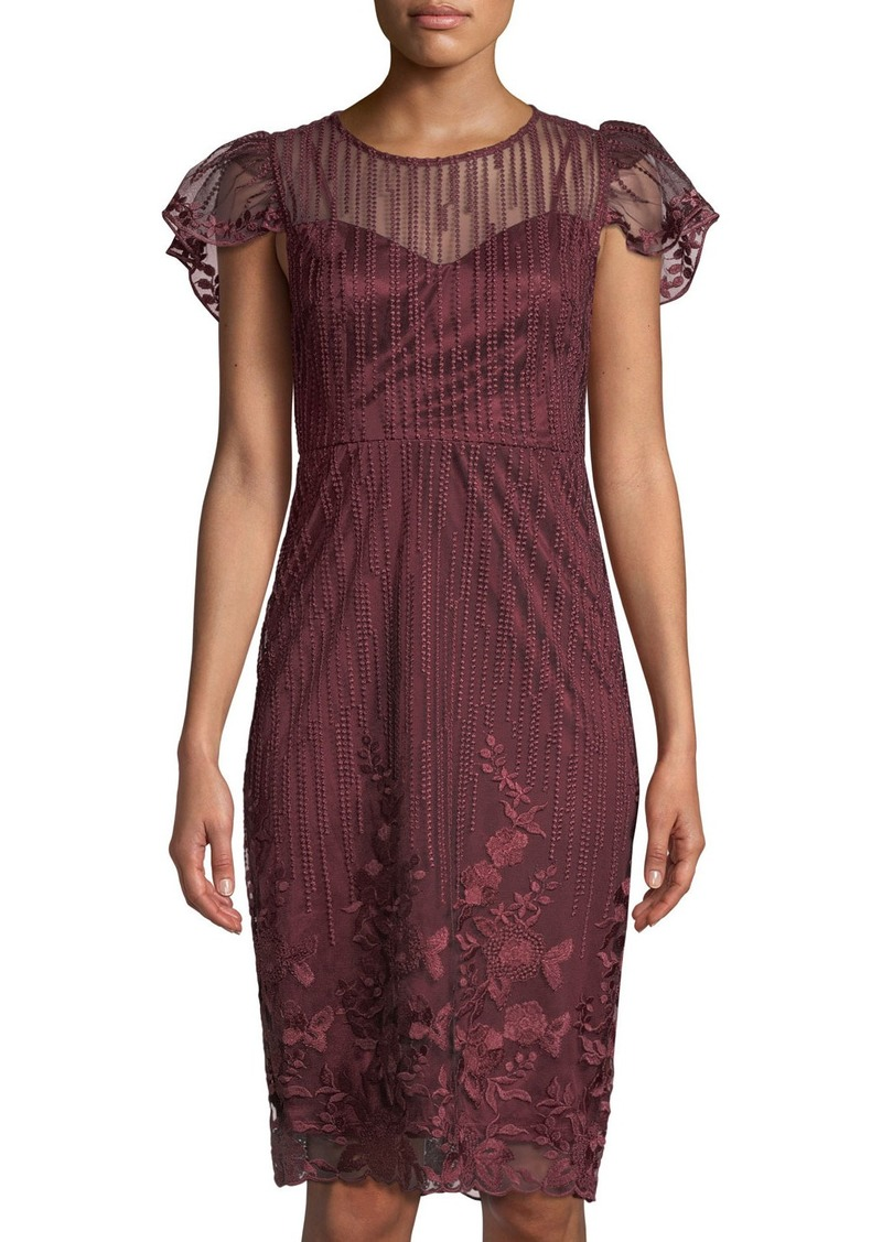 ace38bbd6d6 On Sale today! Neiman Marcus Flutter-Sleeve Embroidered Mesh ...