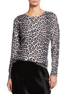 Neiman Marcus Foil Leopard-Print Cashmere Crewneck Sweater