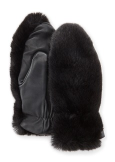 Neiman Marcus Fownes Faux Fur & Leather Tech Mittens