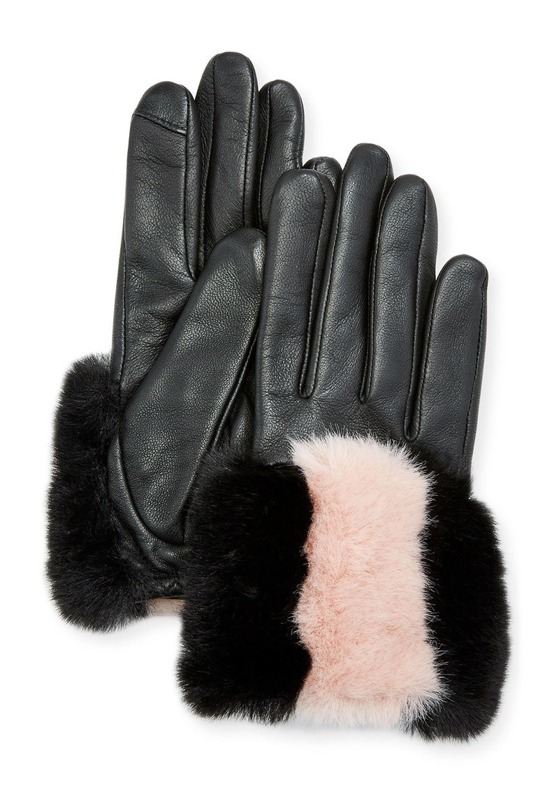Neiman Marcus Fownes Two-Tone Shearling Gloves
