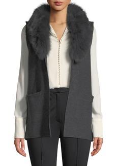 Neiman Marcus Fox Fur-Trim Knit Vest